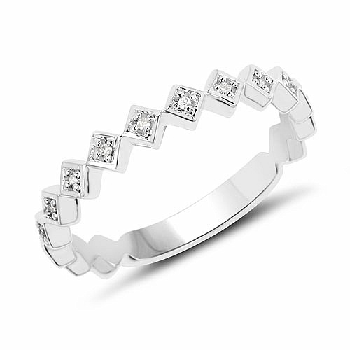 0.06CTW White Diamond 14K White Gold Ring