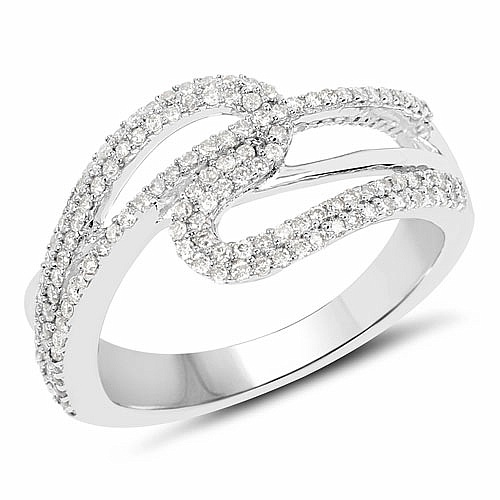 0.52CTW White Diamond 14K White Gold Ring