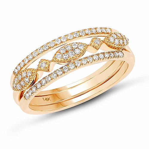 0.26CTW White Diamond 14K Yellow Gold Ring
