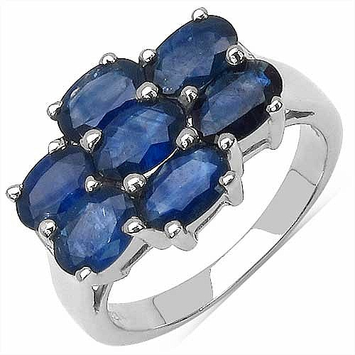 4.55CTW Genuine Blue Sapphire .925 Sterling Silver Ring