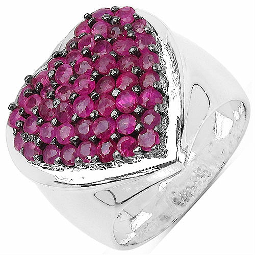 2.94CTW Genuine Ruby .925 Sterling Silver Ring