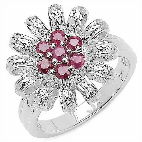 0.64CTW Genuine Ruby .925 Sterling Silver Ring
