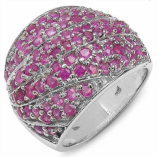 3.09CTW Round Ruby .925 Sterling Silver Ring