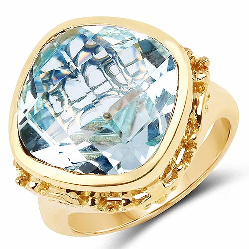 12.90CTW Genuine Blue Topaz .925 Sterling Silver Gold Plated Ri
