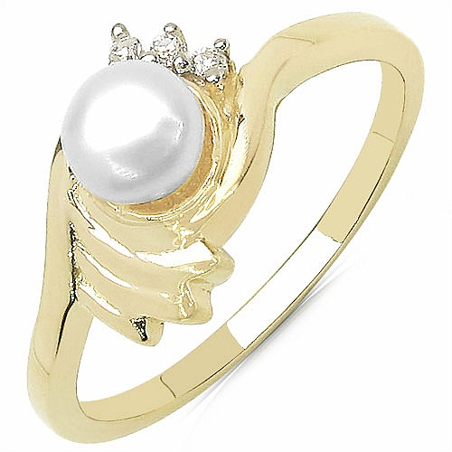 0.70CTW Genuine Pearl & White Cubic Zircon .925 Sterling Silver