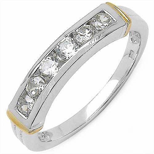 0.84CTW White Cubic Zircon .925 Sterling Silver Two Tone Pla