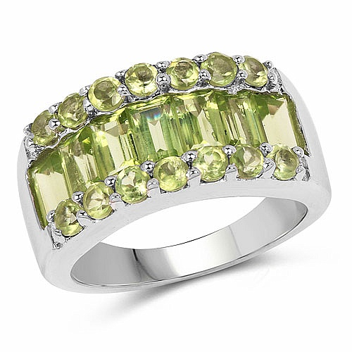 3.50CTW Genuine Peridot .925 Sterling Silver Ring