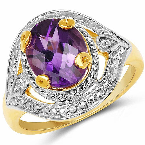 2.50CTW Genuine Amethyst 14K Yellow Gold Plated .925 Sterling S
