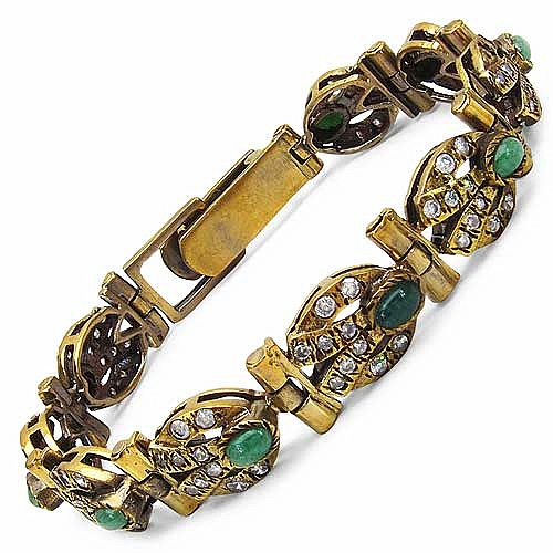20.60 Grams White Cubic Zirconia & Green Stone Gold Plated B