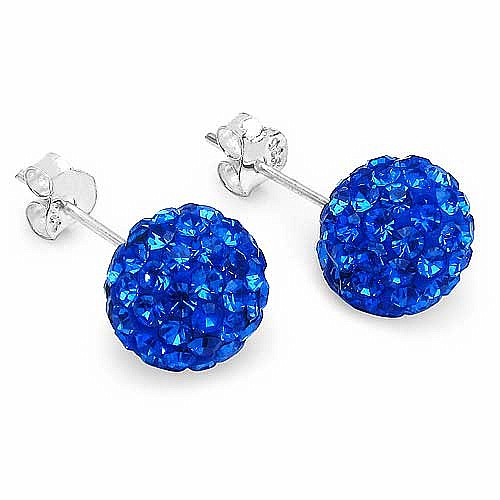 1.80 Grams Blue Crystal .925 Sterling Silver Ball Shape Earr