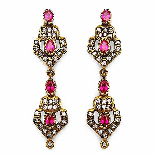 10.40 Grams White Cubic Zirconia & Pink Glass Gold Plated Br