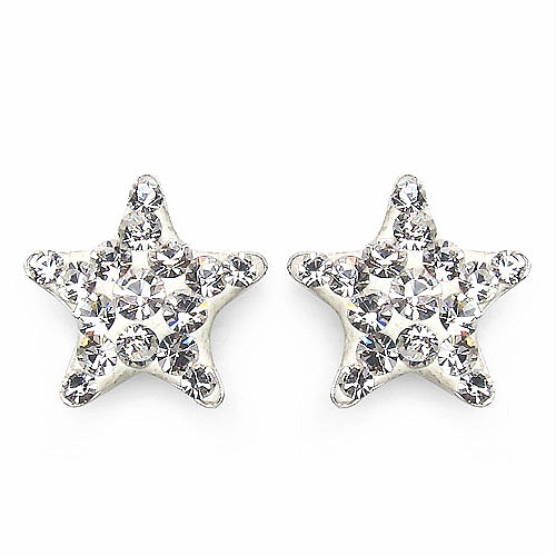 0.80 Grams White Crystal .925 Sterling Silver Star Shape Earrin