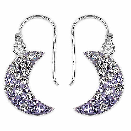 1.60 Grams Purple & White Crystal .925 Sterling Silver Moon Sha