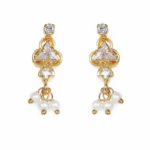 Gleam Touch 3.00 Grams White Cubic Zirconia Brass Tops