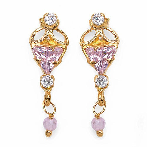 2.90 Grams Pink Cubic Zirconia & White Cubic Zirconia Brass Top