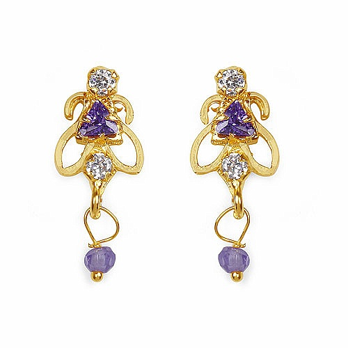 Gleam Touch 2.50 Grams Amethyst Cubic Zirconia & White Cubic Zi