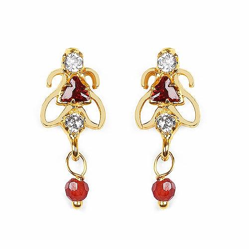 Gleam Touch 2.70 Grams Red Cubic Zirconia & White Cubic Zirconi