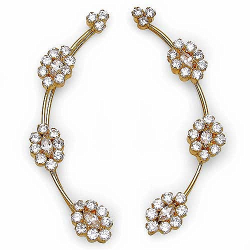 5.60 Grams White Cubic Zirconia Gold Plated Brass Ear Wraps