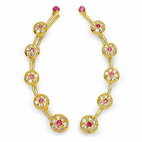4.50 Grams Ruby & White Cubic Zirconia Gold Plated Brass Ear
