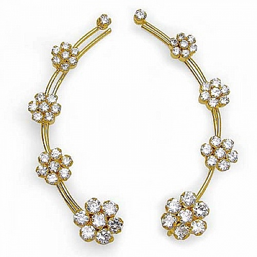 5.70 Grams White Cubic Zirconia Gold Plated Brass Ear Wraps