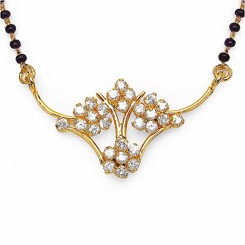 6.00 Grams White Cubic Zirconia Gold Plated Brass Mangalsutra