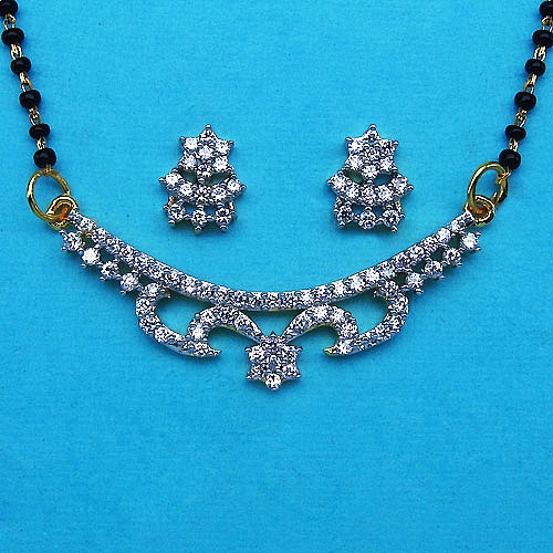 8.20 Grams White Cubic Zirconia Gold Plated Brass Mangalsutra S
