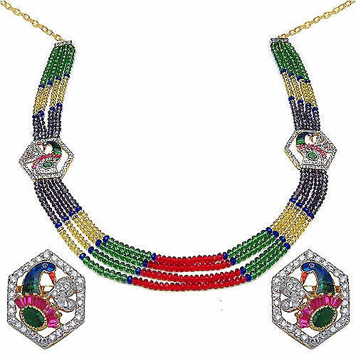 60.80 Grams Multicolor Glass & White Cubic Zirconia Gold Plated