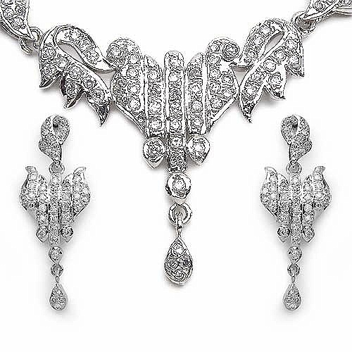 22.40 Grams American Diamond Brass Necklace Set