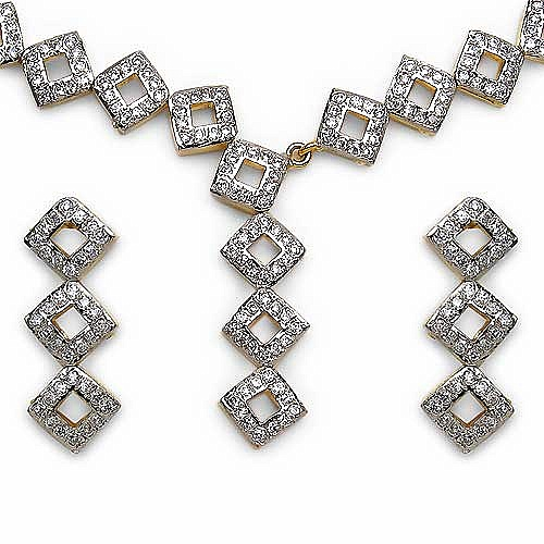 23.50 Grams American Diamond Gold Plated Brass Necklace Set