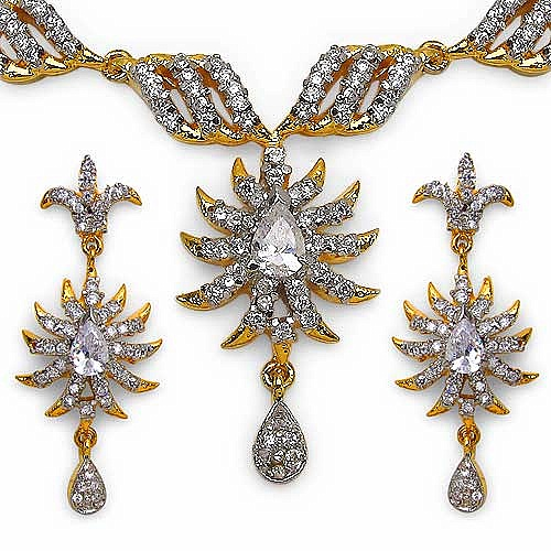 31.10 Grams American Diamond Gold Plated Brass Necklace Set