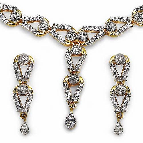 28.50 Grams American Diamond Gold Plated Brass Necklace Set