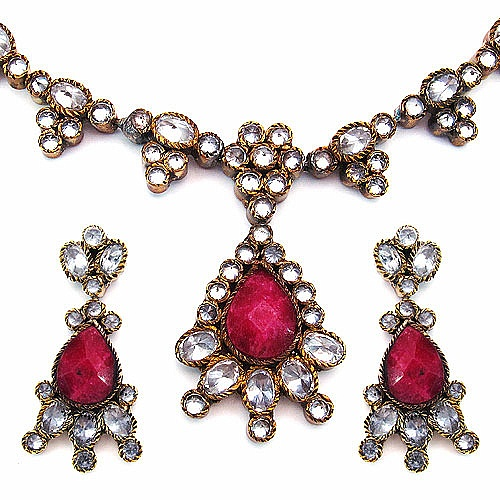49.50 Grams Red Onyx & White Cubic Zirconia Gold Plated Bras