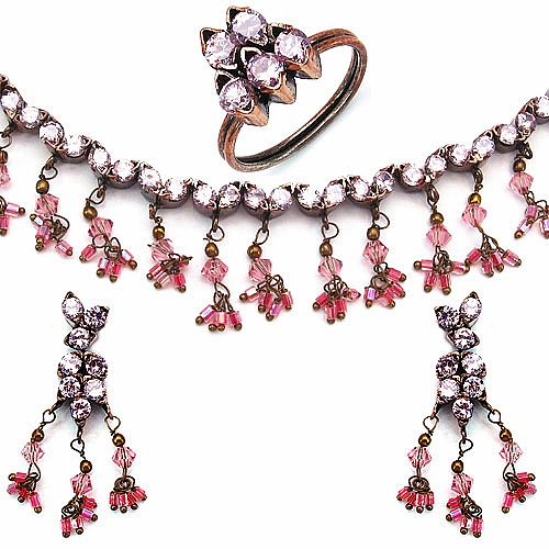 34.50 Grams Pink Cubic Zirconia & Pink Glass Gold Plated Bra