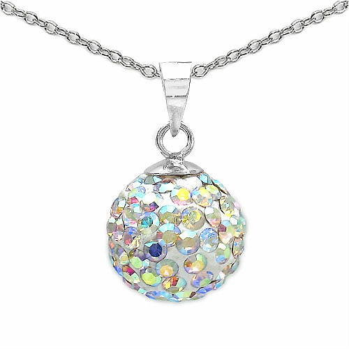 1.40 Grams Rainbow Crystal .925 Sterling Silver Ball Shape Pend