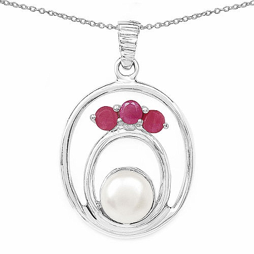 2.49CTW Genuine Ruby & Pearl .925 Sterling Silver Pendant