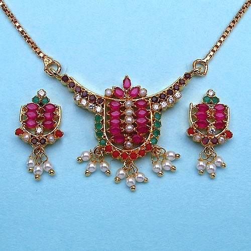 16.50 Grams Navratna Gold Plated Brass Pendant set