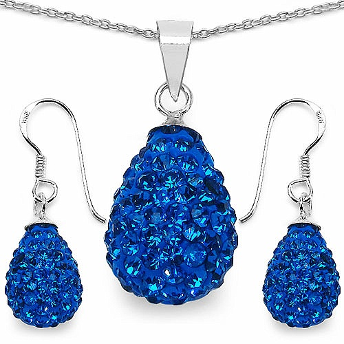 4.94 Grams Blue Crystal .925 Sterling Silver Drop Shape Pendant