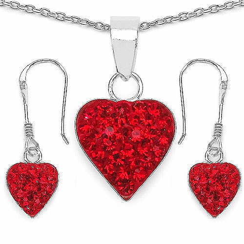 1.48CTW Red Crystal .925 Sterling Silver Heart Shape Pendant Se