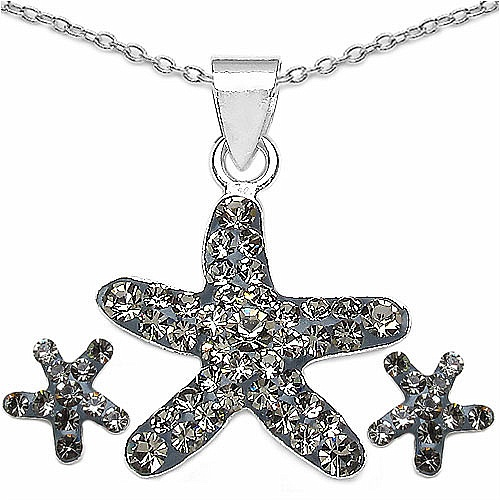 1.20 Grams Champagne Crystal .925 Sterling Silver Star Shape Pe