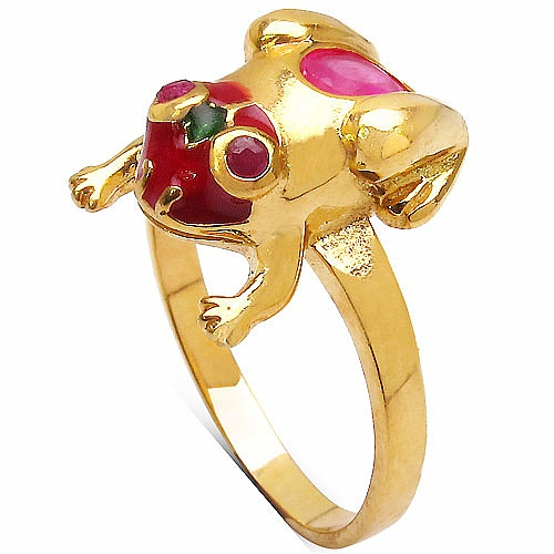 8.80 Grams Red Synthetic Stone & Ruby Gold Plated Silver & Copp
