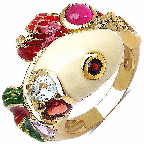 8.00 Grams Multigemstones Gold Plated .925 Sterling Silver Red,
