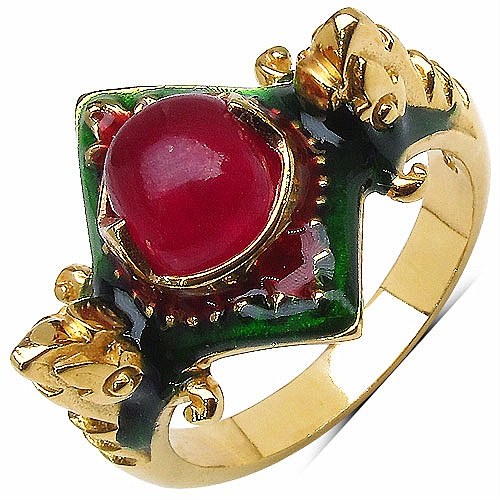 7.40 Grams Red Synthetic Stone Gold Plated .925 Sterling Silver