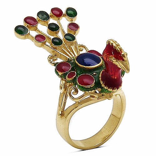 10.20 Grams Gold Plated .925 Sterling Silver Peacock Shape Red,
