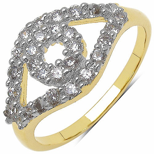 1.90 Grams White Cubic Zirconia Gold Plated Brass Ring