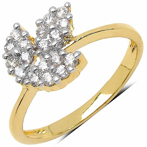 1.30 Grams White Cubic Zirconia Gold Plated Brass Flower Sha