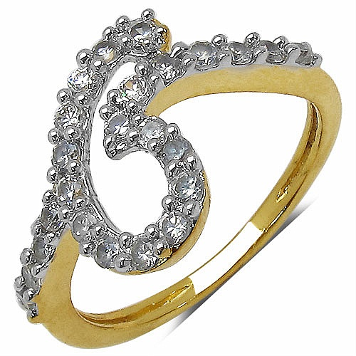 1.30 Grams White Cubic Zirconia Gold Plated Brass Ring