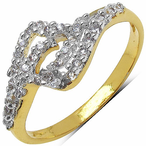 1.40 Grams White Cubic Zirconia Gold Plated Brass Ring