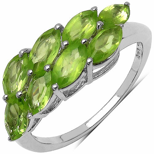 3.60CTW Genuine Peridot .925 Sterling Silver Ring