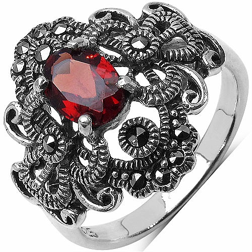 1.03CTW Genuine Garnet & Marcasite .925 Sterling Silver Ring