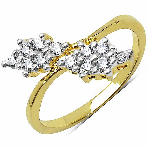1.70 Grams White Cubic Zirconia Brass Gold Plated Ring